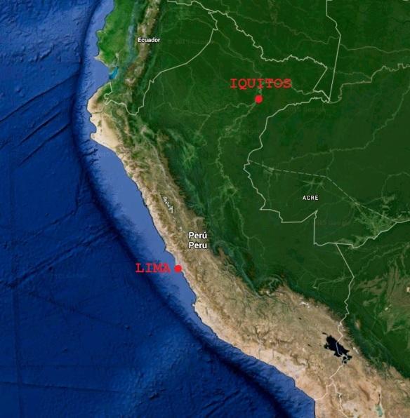 Mappa del Perù con Lima ed Iquitos